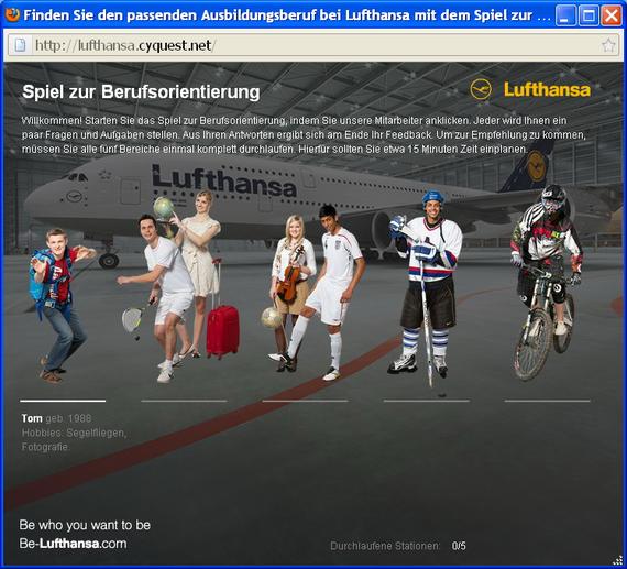 Spiel zur Berufsorientierung der Lufthansa. Quelle: CYQUEST