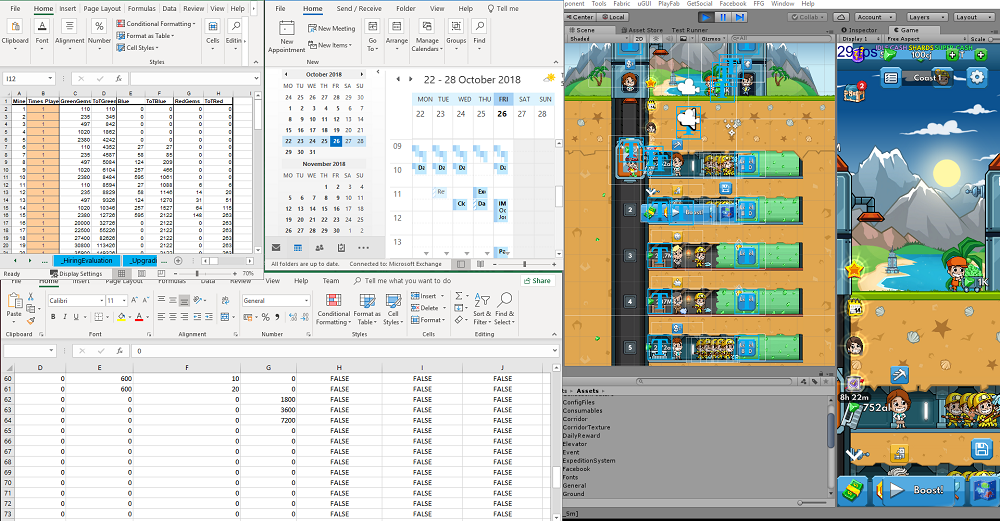 Random screenshot of Pablos desk: Documenting data, tweaking numbers and communicating are essential components of a Game Designer's job